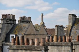 Old Rooftops with Chimneys in Bath