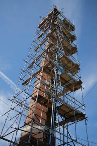 The 28-metre freestanding brick chimney