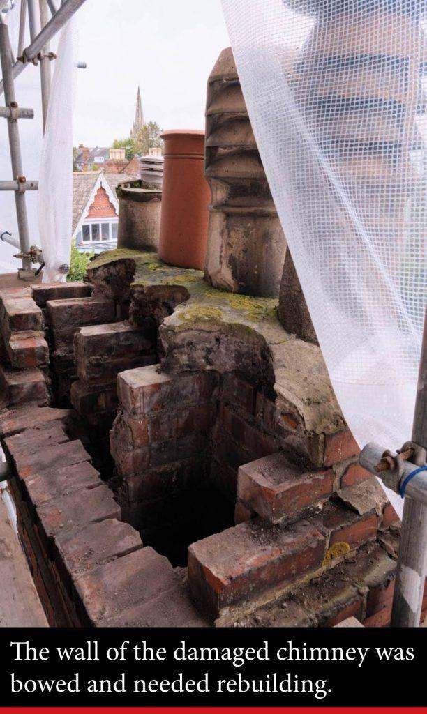 old damaged chimney