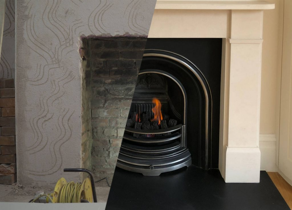 gas fireplace before after